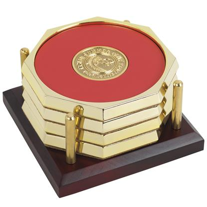 Picture of Four Octagon Coasters with Solid Cherry Tray