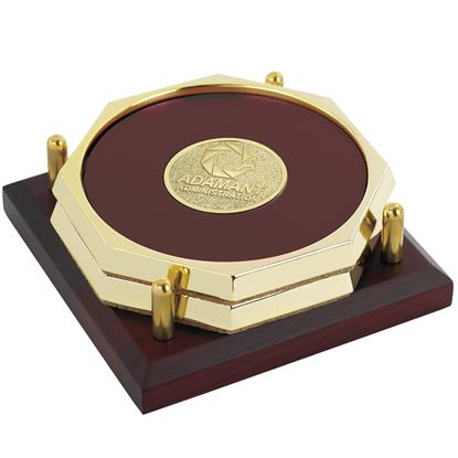 Picture of Two Octagon Coasters with Solid Cherry Tray