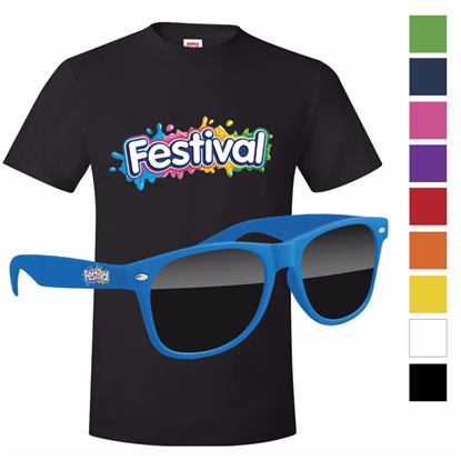 Picture of Men's Hanes®  Black T-shirt & Retro Sunglass with Full Color