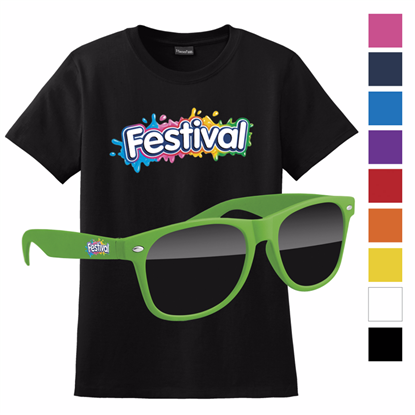Picture of Women's Hanes® Black T-shirt & Retro Sunglass with Full Color