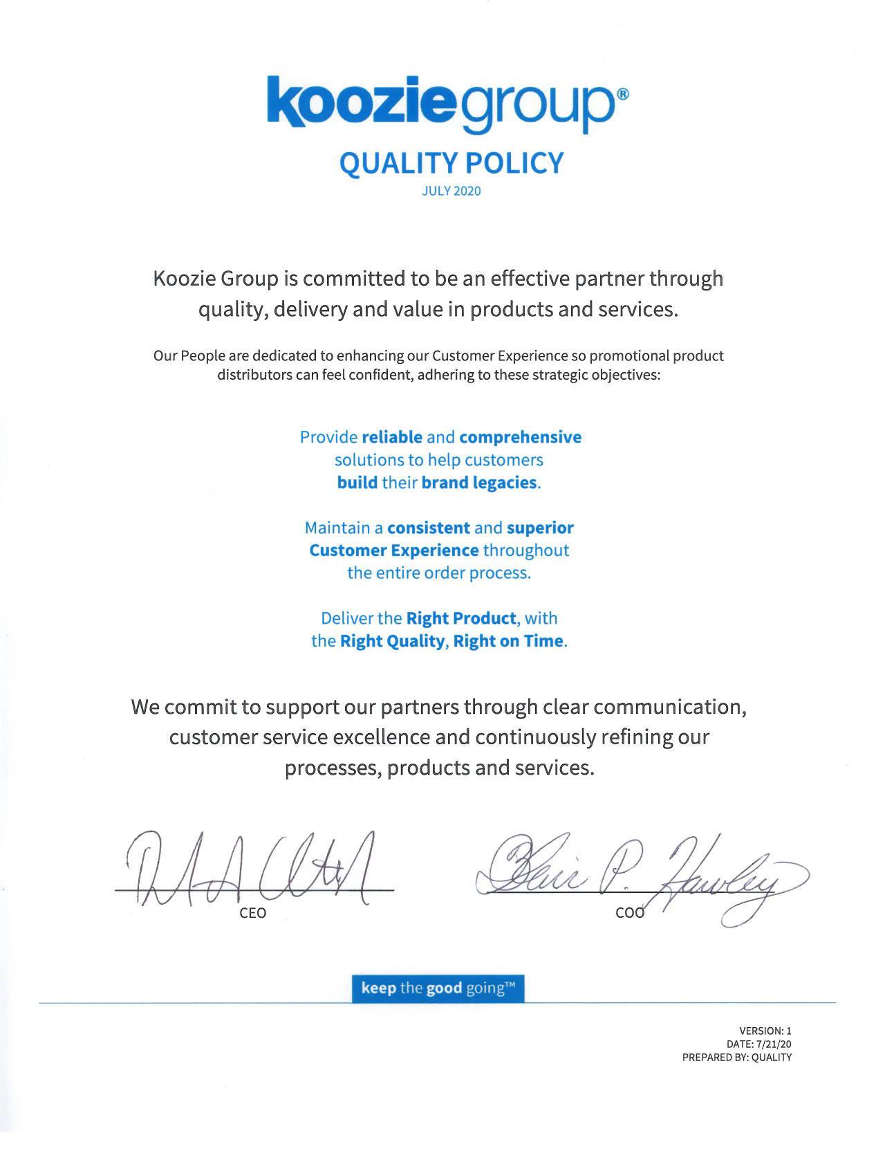 Koozie Group Quality Policy
